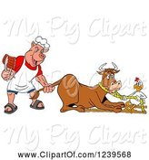 Swine Clipart of Cartoon Chef Pig Holding Ribs and Pulling the Tail of a Cow While a Chicken Holds a Rope by LaffToon