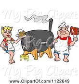 Swine Clipart of Cartoon Chef Pig Holding Ribs and Waitress Holding Beer by a Smoker by LaffToon