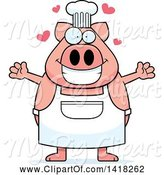 Swine Clipart of Cartoon Chef Pig Wanting a Hug by Cory Thoman