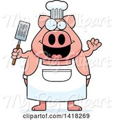 Swine Clipart of Cartoon Chef Pig Waving and Holding a Spatula by Cory Thoman