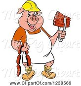 Swine Clipart of Cartoon Chef Pig Wearing a Hardhat and Apron, Holding Sausage and Bbq Ribs by LaffToon