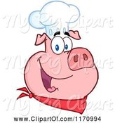 Swine Clipart of Cartoon Chef Pig Wearing a Hat by Hit Toon