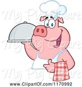 Swine Clipart of Cartoon Chef Pig with a Cloche Platter by Hit Toon