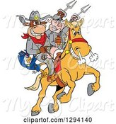 Swine Clipart of Cartoon Chicken, Bull and Pig Civil War Soldiers Riding a Horse with Bbq Sauce by LaffToon