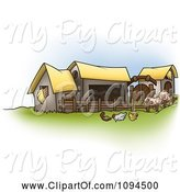 Swine Clipart of Cartoon Chickens and Pigs by Barns on a Farm by Dero