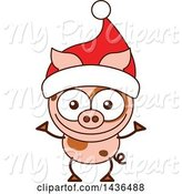 Swine Clipart of Cartoon Christmas Pig Wearing a Santa Hat by Zooco