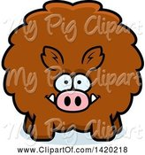Swine Clipart of Cartoon Chubby Boar by Cory Thoman