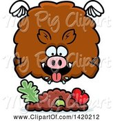 Swine Clipart of Cartoon Chubby Boar Flying and Eating by Cory Thoman