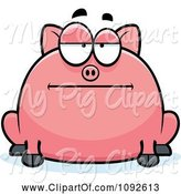Swine Clipart of Cartoon Chubby Bored Pig by Cory Thoman