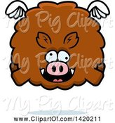 Swine Clipart of Cartoon Chubby Crazy Boar Flying by Cory Thoman