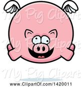 Swine Clipart of Cartoon Chubby Crazy Pig Flying by Cory Thoman