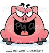 Swine Clipart of Cartoon Chubby Evil Pig by Cory Thoman