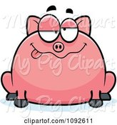 Swine Clipart of Cartoon Chubby Goofy Pig by Cory Thoman