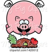 Swine Clipart of Cartoon Chubby Pig Flying and Eating by Cory Thoman