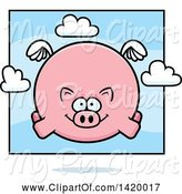 Swine Clipart of Cartoon Chubby Pig Flying by Cory Thoman