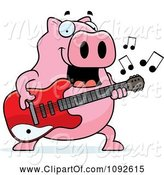 Swine Clipart of Cartoon Chubby Pig Guitarist by Cory Thoman