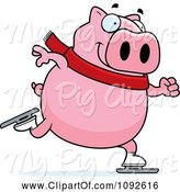 Swine Clipart of Cartoon Chubby Pig Ice Skating by Cory Thoman