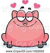 Swine Clipart of Cartoon Chubby Pig in Love by Cory Thoman