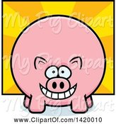 Swine Clipart of Cartoon Chubby Pig over Rays by Cory Thoman