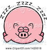 Swine Clipart of Cartoon Chubby Pig Sleeping by Cory Thoman