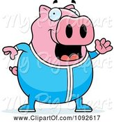 Swine Clipart of Cartoon Chubby Pig Waving in Pajamas by Cory Thoman