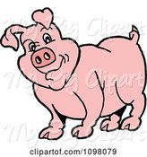 Swine Clipart of Cartoon Chubby Pink Pig Cocking His Head by LaffToon