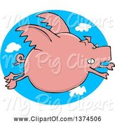 Swine Clipart of Cartoon Chubby Pink Pig Flying over a Sky Oval by Djart