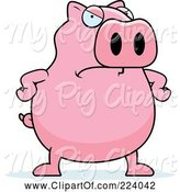 Swine Clipart of Cartoon Chubby Pink Pig with an Angry Expression by Cory Thoman