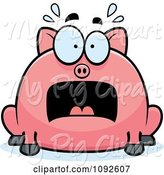 Swine Clipart of Cartoon Chubby Scared Pig by Cory Thoman