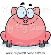 Swine Clipart of Cartoon Chubby Smiling Pig by Cory Thoman