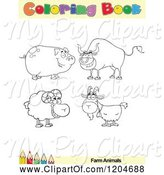 Swine Clipart of Cartoon Coloring Book Page with Farm Animal Outlines Text and a Colored Pencil Border by Hit Toon