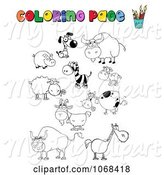 Swine Clipart of Cartoon Coloring Page Animals by Hit Toon