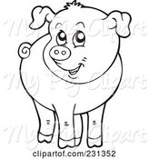 Swine Clipart of Cartoon Coloring Page Outline of a Barnyard Pig by Visekart