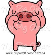 Swine Clipart of Cartoon Content Pig by Lineartestpilot
