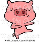 Swine Clipart of Cartoon Content Pig Dancing by Lineartestpilot