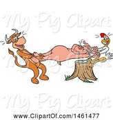 Swine Clipart of Cartoon Cow and Chicken Pulling a Pig, Pulled Pork by LaffToon