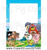 Swine Clipart of Cartoon Cow, Duck, Sheep and Pig by a Silo and Barn Border Frame by Visekart