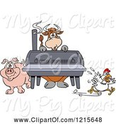Swine Clipart of Cartoon Cow Pig and Chicken by a Bbq Smoker by LaffToon