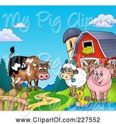 Swine Clipart of Cartoon Cow, Sheep, Duck and Pig by a Path, Silo and Barn by Visekart