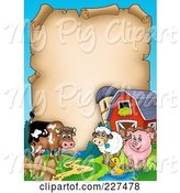 Swine Clipart of Cartoon Cow, Sheep, Duck and Pig with a Barn and Silo Around an Aged Parchment Page by Visekart