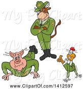 Swine Clipart of Cartoon Cow Standing over a Pig and Chicken Soldiers Doing Pushups by LaffToon