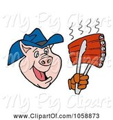 Swine Clipart of Cartoon Cowboy Pig Holding up Rips with a Spatula by LaffToon