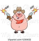 Swine Clipart of Cartoon Cowboy Pig Shooting Pistols by Hit Toon