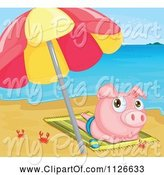 Swine Clipart of Cartoon Crabs Around a Cute Pig Sun Tanning on a Beach by Graphics RF