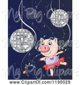 Swine Clipart of Cartoon Dancing Ballerina Pig with Disco Balls and Music Notes by Graphics RF