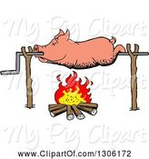 Swine Clipart of Cartoon Dead Pig Roasing on a Spit over a Fire by LaffToon