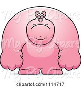 Swine Clipart of Cartoon Depressed Buff Pig by Cory Thoman