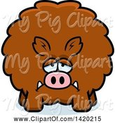 Swine Clipart of Cartoon Depressed Chubby Boar by Cory Thoman
