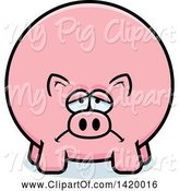 Swine Clipart of Cartoon Depressed Chubby Pig by Cory Thoman