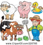 Swine Clipart of Cartoon Digital Collage of a Farmer and His Livestock Animals by Visekart